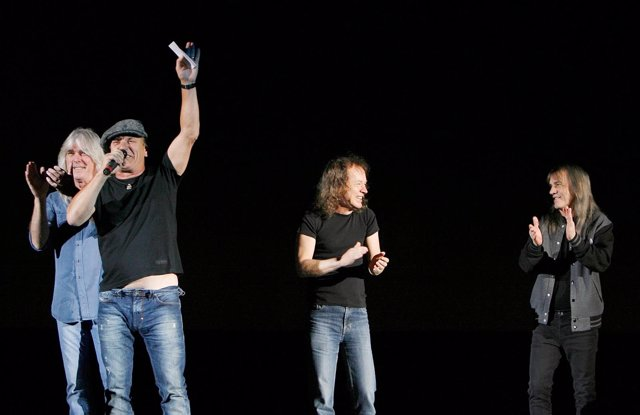 Malcolm Young, Cliff Williams, Angus Young, Brian Johnson of ACDC promote their