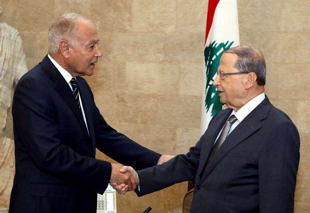 Michel Aoun y Ahmed Aboul Gheit
