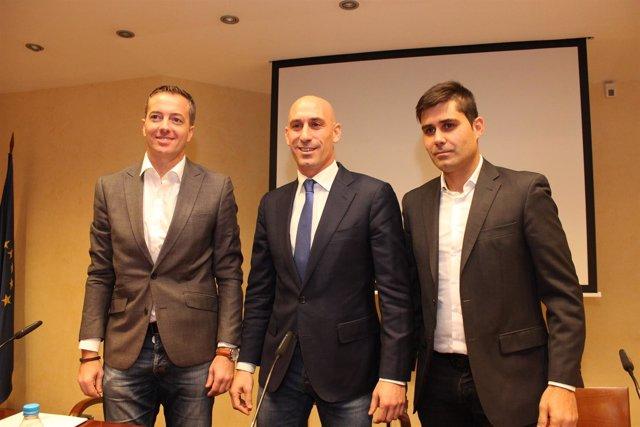 Jesús Peramos, Luis Manuel Rubiales y David Aganzo (AFE)