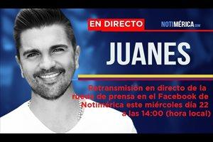 Retransmisión en directo de la rueda de prensa de Juanes este miércoles 22 a las 14.00 horas