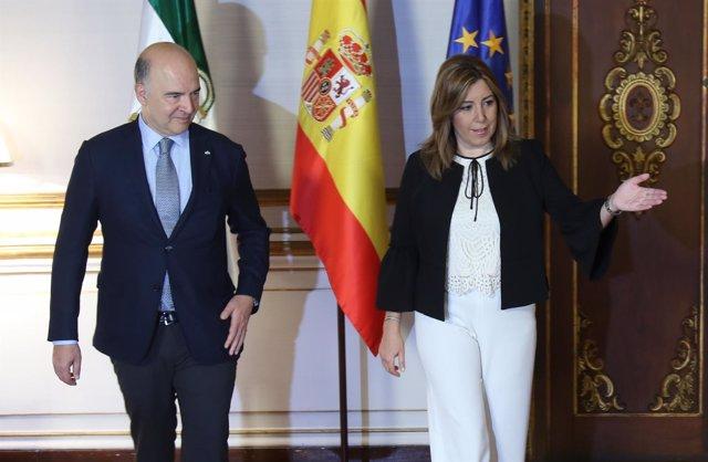 Susana Díaz recibió a Pierre Moscovici en Sevilla en junio de 2017