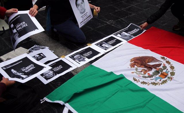 Protesta por periodistas asesinados en México