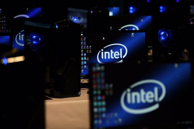 The Intel logo is displayed on computer screens at SIGGRAPH 2017 in Los Angeles,
