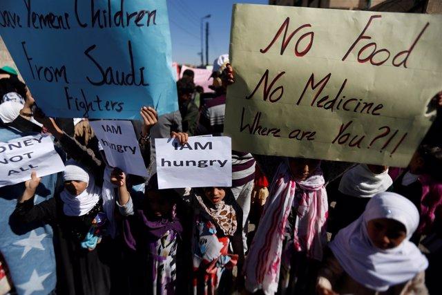 Manifestación contra el bloqueo en Yemen