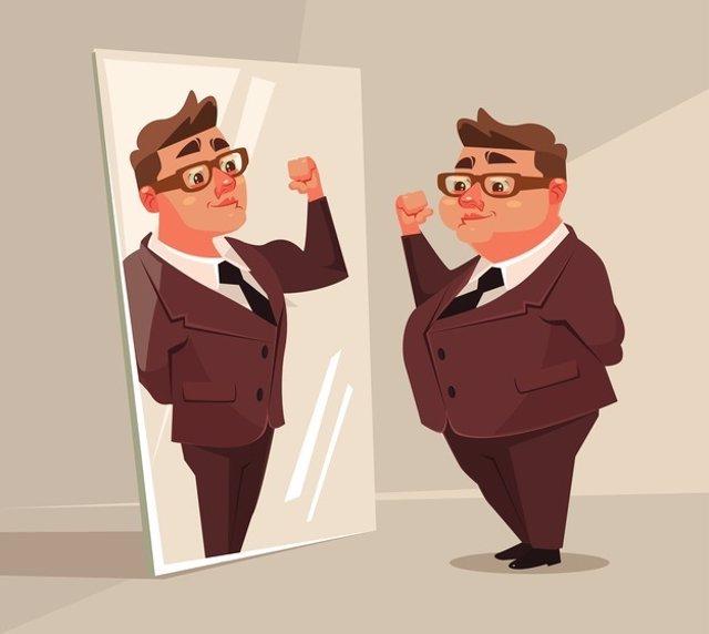 Gordo, delgado, espejo
