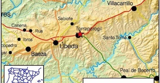 Epicentro del terremoto registrado en la provincia de Jaén