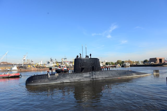 The Argentine military submarine ARA San Juan and crew are seen leaving the port