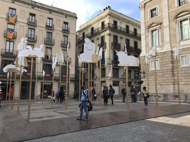 Pesebre del arquitecto Jordi Darder en la plaza Sant Jaume