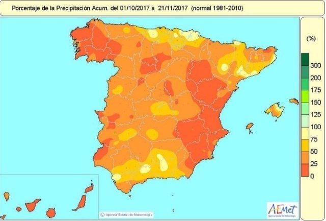 No ha llovido ni el 40 por ciento de lo normal en España desde octubre