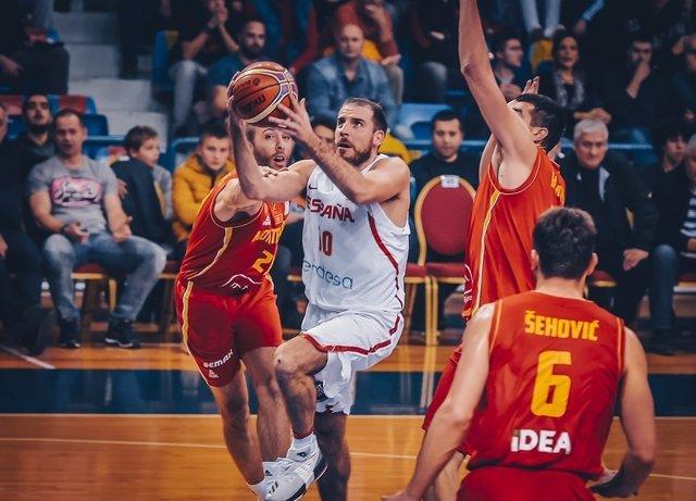 Colom en el España contra Montenegro de FIBA