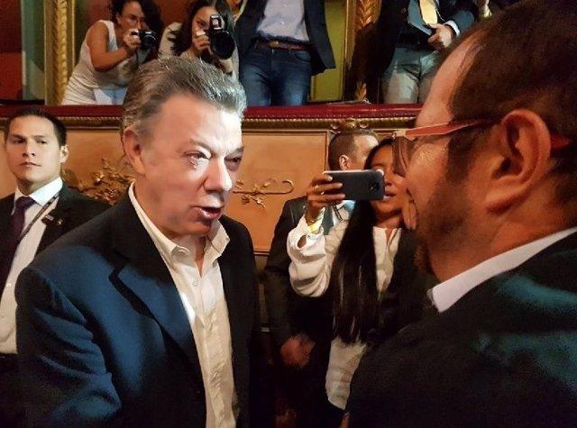Juan Manuel Santos y 'Timochenko' a un año de la firma del acuerdo de paz