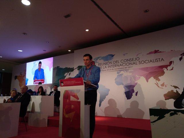 Pedro Sánchez (PSOE) en el Consell de la Internacional Socialista
