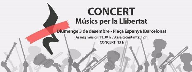 Cartel del concierto de Òmnium y Músics per la Llibertat