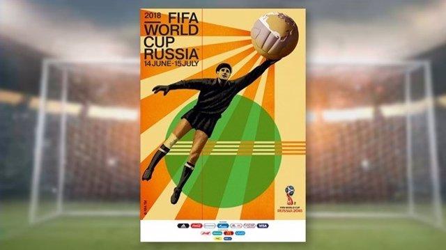 Cartel de la FIFA del Mundial de Rusia 2018, con Lev Yashin como protagonista