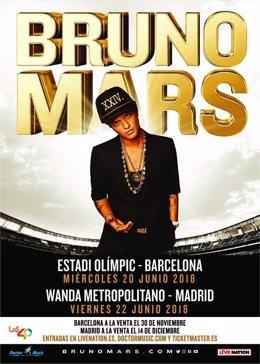 Conciertos de Bruno Mars en Barcelona y Madrid en 2018