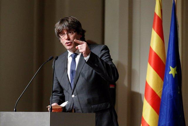 Intervención de Carles Puigdemont en Bruselas