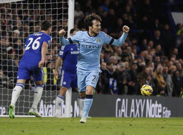 David Silva marca para el Manchester City ante el Chelsea