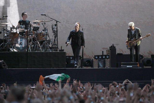 U2 performing on stage at Croke Park in Dublin.