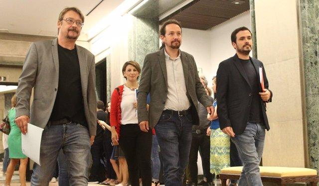 Xavier Domènech, Pablo Iglesias y Alberto Garzón