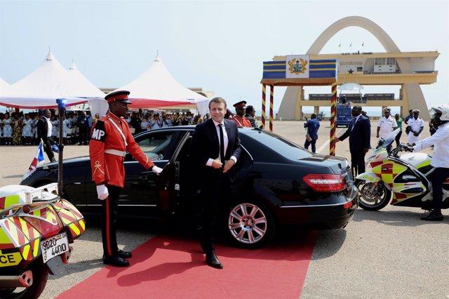 El presidente francés, Emmanuel Macron, en Acra