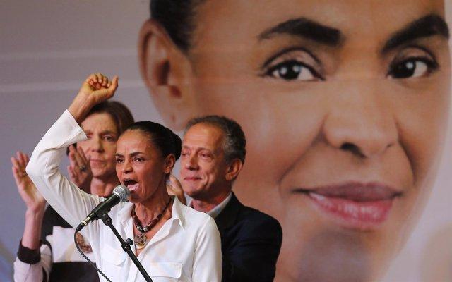 Candidata presidencial Marina Silva durante un acto electoral