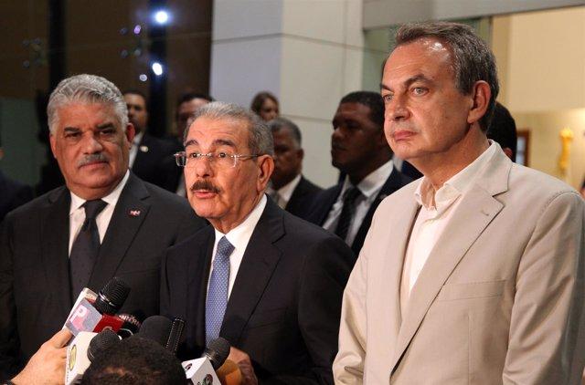 Miguel Vargas, Danilo Medina y José Luis Rodríguez Zapatero