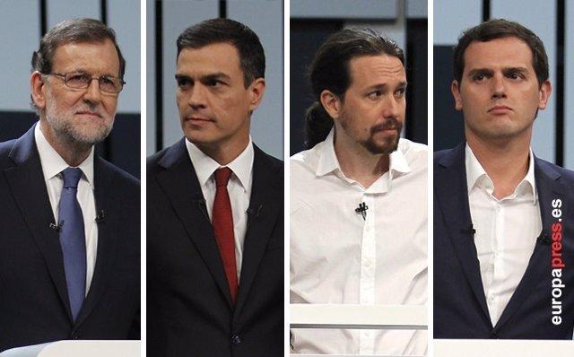 Montaje de los cuatro líderes políticos: Rajoy, Pedro Sánchez, Pablo Iglesias y