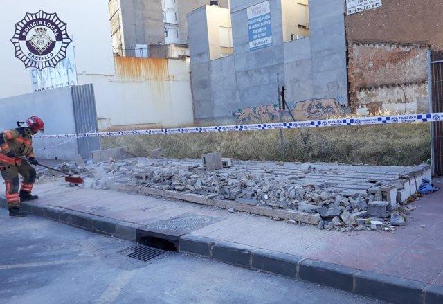 Muro derrumbado en Castellón