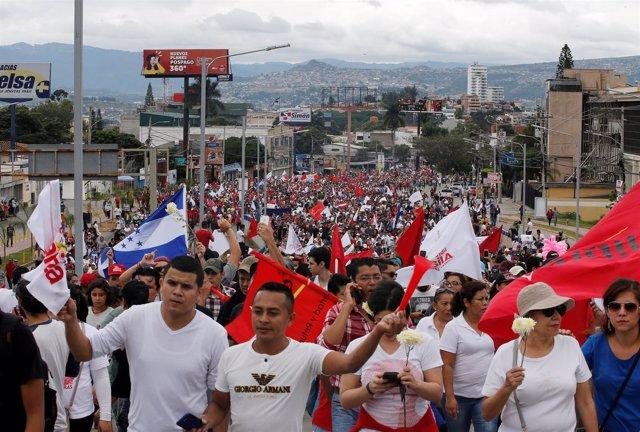 Manifestación a favor de Salvador Nasaralla en Honduras