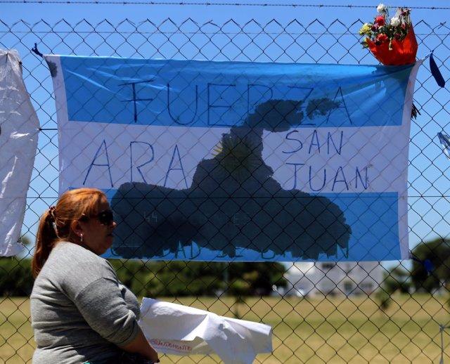 Bandera en apoyo al submarino 'ARA San Juan'