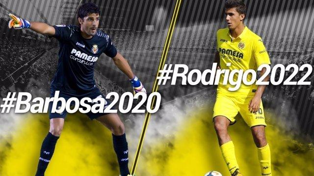 El Villarreal renueva al portero Barbosa hasta 2020 y al centrocampista Rodrigo