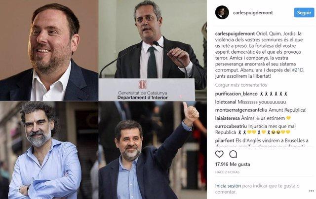 Captura de pantalla del apunte de C.Puigdemont en instagram.