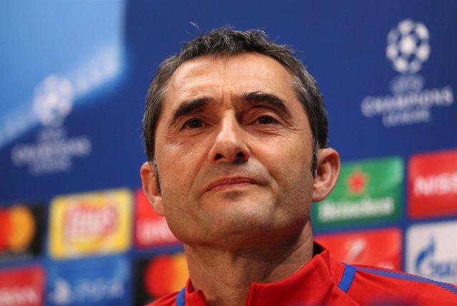 Ernesto Valverde en rueda de prensa de Liga de Campeones