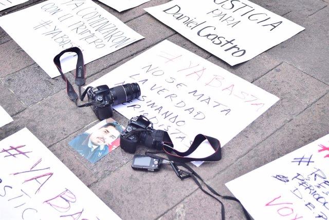 Protesta de periodistas mexicanos contra el asesinato de Daniel Esqueda