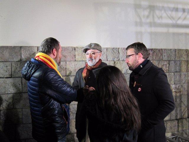 Carles Riera (CUP) antes del acto de inicio de campaña