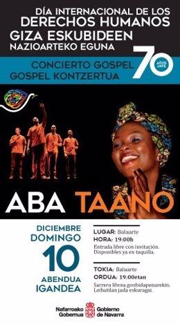 Cartel anunciador del concierto de Aba Taano.