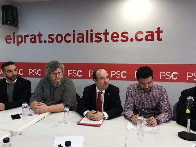Miquel Iceta (PSC) se reúne con empleados del Aeropuerto de  Barcelona