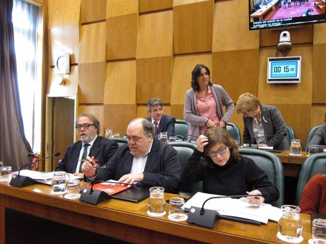 Concejales del PSOE en el pleno del Ayuntamiento de Zaragoza