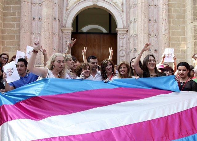 Celebración a las puertas del Parlamento de Sevilla
