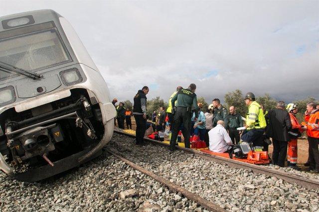 Imagen del tren descarrilado en Arahal (Sevilla)