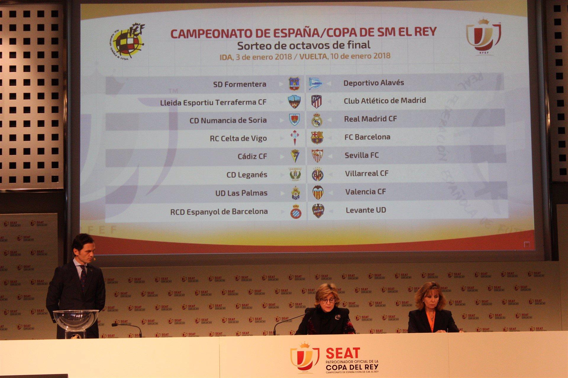 Formentera-Alavés, Celta-Barça, Numancia-Real Madrid y Lleida-Atlético, duelos de octavos de final