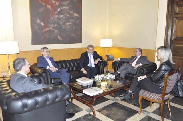 Lambán y Alegría se han entrevistado con representantes del Campus Iberus.