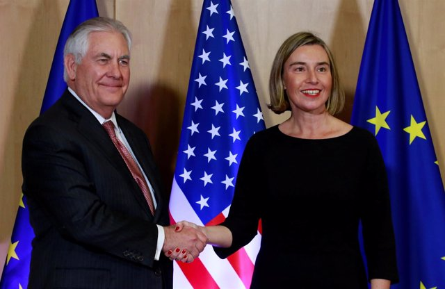 Rex Tillerson y Federica Mogherini