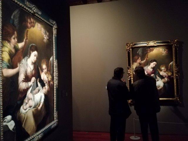 La Virgen de la Faja de Murillo al fondo, junto a una de las obras que inspiró