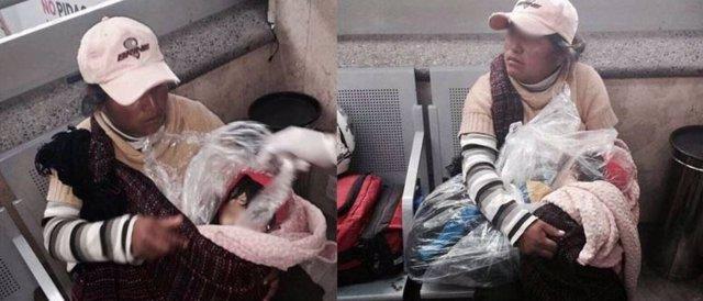 Mujer con hijo muerto en bolsas