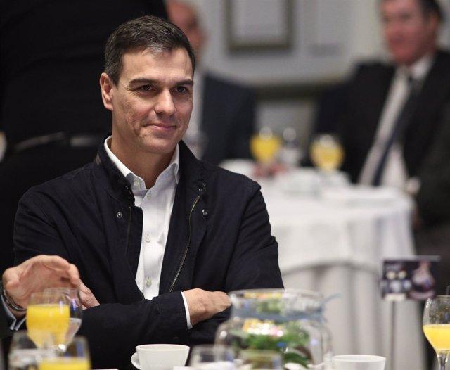 Pedro Sánchez en un acto en Madrid