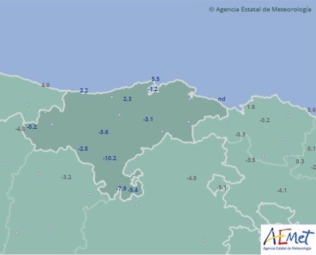Temperaturas mínimas en Cantabria. 6 de diciembre de 2017