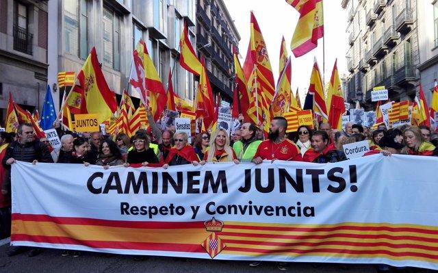 Manifestación en Barcelona el día de la Constitución 2017