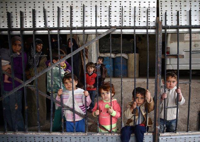 Niños en la localidad de Nashabiyeh, en Ghuta Oriental