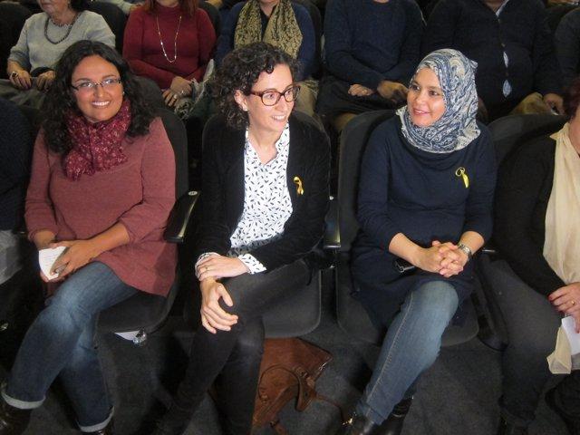 Les candidates d'ERC Sandra Rodríguez, Marta Rovira i Najat Driouech
